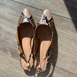 NWT Madewell The Margot Slingback Flat Snakeskin